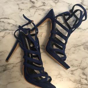 Sexy Cobalt Blue Strappy Heels Size 8.5